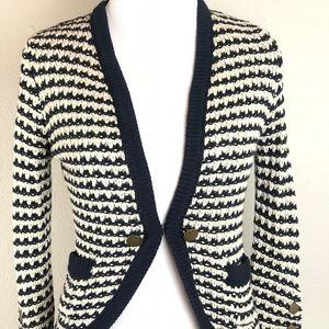 NWT! LOFT Blue Cream Sweater Cardigan XSP